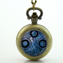 Uk movie Doctor Who Pocket Watch men quartz fashion Necklace Dr Who masters brass locket necklace Timelord Seal pendant(China)
