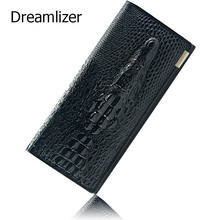 Black Friday Fashion Genuine Leather Women Clutch Wallet 3 Fold Crocodile Head Woman's Purse Carteras Cellphone Bag