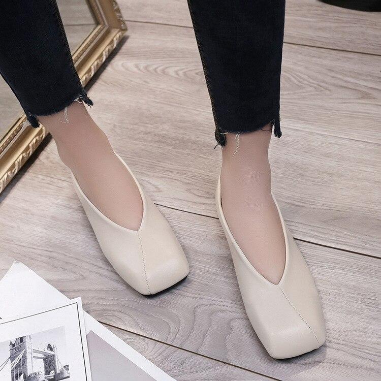 2017 Spring Summer Square Toe Women Ankle Flats Retro Soft Leather Flats Shoes Female V Shape Slip-on Black Summer Flat Low Heel<br><br>Aliexpress