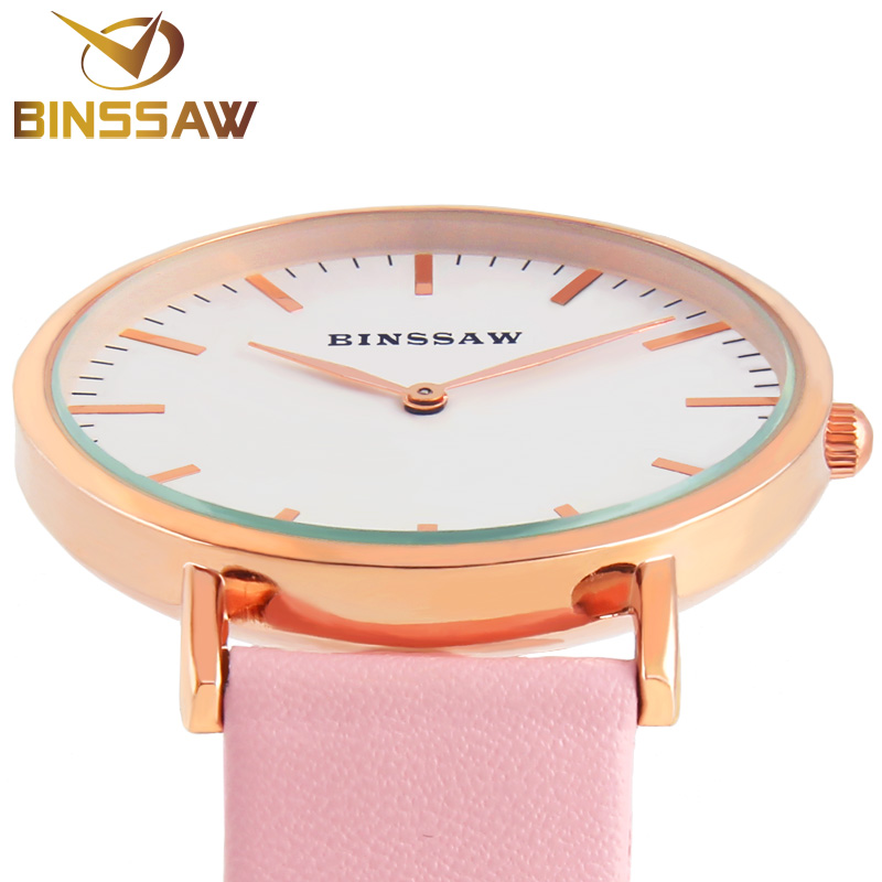 BINSSAW women quartz watches new stainless steel luxury brand casual watch delicate business real leather  fashion wrist watch<br><br>Aliexpress