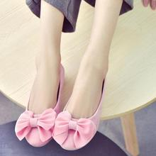 Women Flat Loafers Lady Ballet Flats Sweet Bow Pointy Toe Casual Boat Shoes Women's Flats Solid Flock Ballerina Flat Shoes 35~40