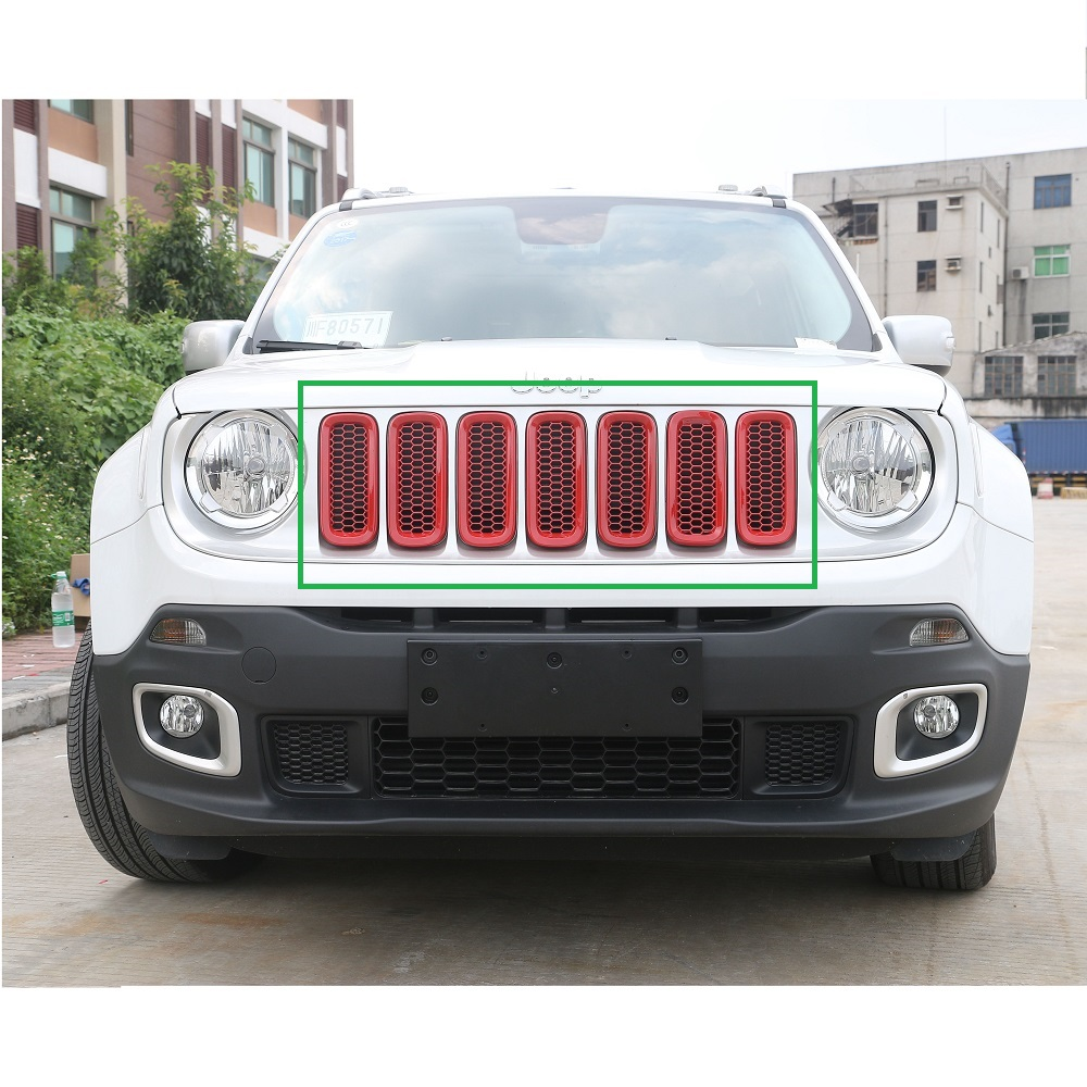 7 pcs red Front Grill Mesh Grille Insert w/ Key hood lock for Jeep renegade 2015-2017<br>