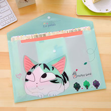12 pcs/lot Korean Stationery Cute Cheese Cat A4 File Holder Bag Kawaii PVC Ducoment Bags office Material school Supplies(China)