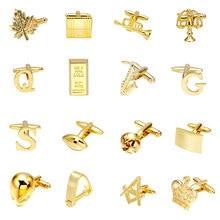 Luxury Gold Cufflinks 18 Ball/Letters/Speakers/Alien Design High-end Men Business Shirts Cufflink Wedding Cufflinks Men Jewelry(China)