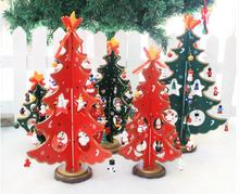 New 3D DIY 30CM Cartoon Wooden Christmas Tree Decoration Xmas Gift Ornament Table Desk Decoration Snowflak Home Party Decor(China)