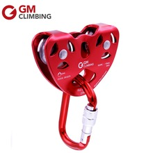 25KN OVAL Carabiner Screw Locking & Zip Line Cable Trolley Pulley/ 5600lbs Set For Rock Climbing