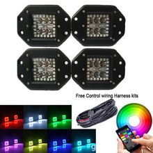 "4x Flush Mount 5"" 24W LED Work Light Bar Spot Flood with RGB Halo Ring Strobe Music Bluetooth & Wiring hanrness control box(China)"