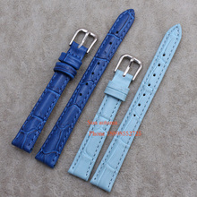 Wholesale ! Straps for wrist watches12 14 16 18 20 -mm Watch Band Leather dark blue Quartz watch accessories sky blue(China)