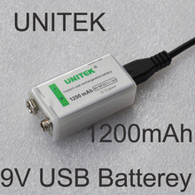 UNITEK USB 9V rechargeable battery 1200mAh 6F22 lithium ion li ion cell for wireless microphone Guitar EQ smoke alarm multimeter(China)