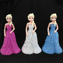 Baby Doll toys for children Elsa&Anna 7 Color led night light table lamp Ice Snow Queen with Battery Crystal Action Toys Figures
