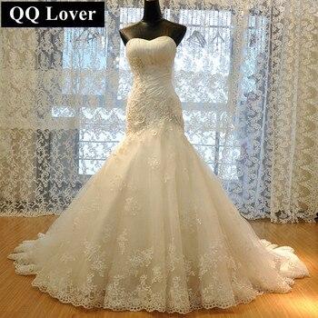 QQ Lover 2017 Luxurious Croset Bodice Lace Top Quality Mermaid Designer Wedding Dress Bridal Gown Vestido De