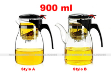 [HT!]900ml high borosilicate glass teapot with filter,chinese heat resistant office glass tea pots with strainer free shipping