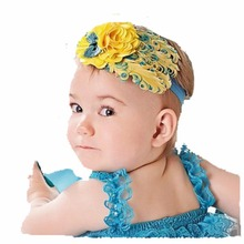 5 pcs/lot Girls Baby Feather Hairband Kids Infant flower Headband (yellow) bows floral hair wreath hair bands for women A042-13