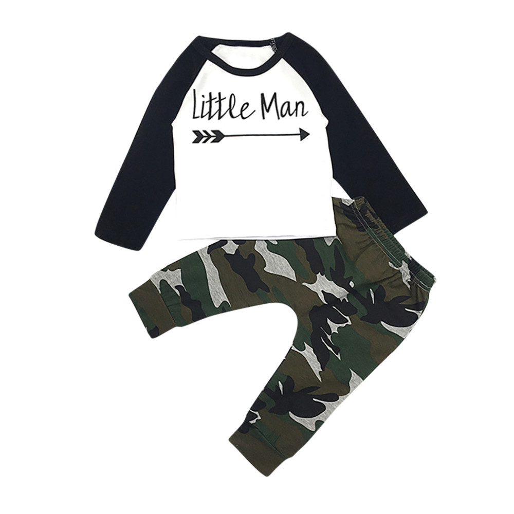 2PC Toddler Baby Cool Boy Lettering Printed Long Sleeve Tshirt Pant Outfit  Set
