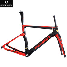 SEQUEL full carbon bicycle frames Toray T1000 PF30/BB30/BSA red and black colors 42mm/52mm tapered chinese carbon frames DIY