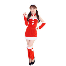 2017 Best Sale New Women Santa Claus Holiday Costume Cosplay Girls Xmas Outfit Fancy Party red dress vestido de festa robe femme(China)