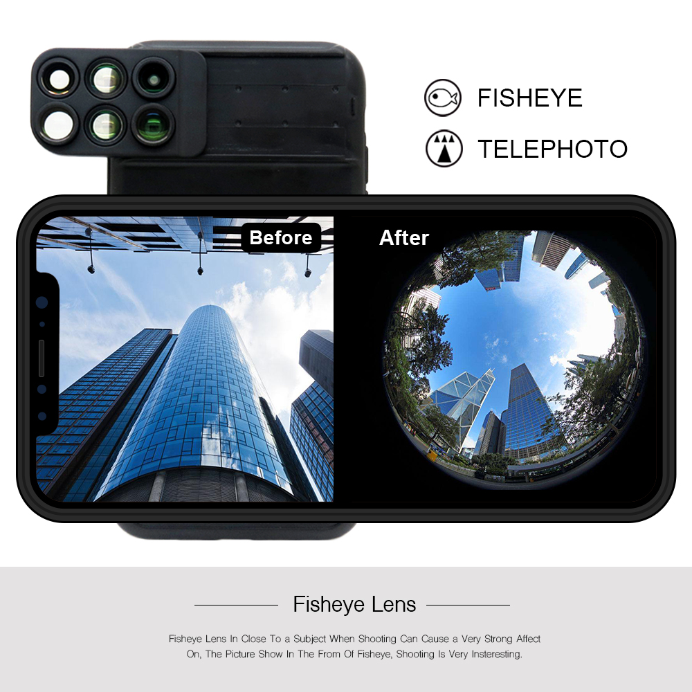 New For iPhone XS Max Dual Camera Lens 6 in 1 Fisheye Wide Angle Macro Lens For iPhone XS XR Xs Max Telescope Zoom Lenses 12