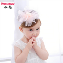 2017 New 10PCS Wholesale Children's hair accessories baby flower lace headband fur ball elastic hair band photo props head band(China)
