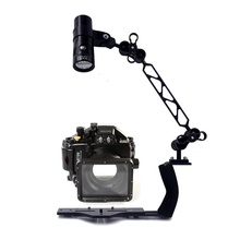 Underwater Waterproof Housing Diving Case for Panasonic GM1 LX100 Camera+ Lighting Arm Bracket + 2400 lumens Led Video Torch