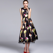 Fashion Dress 2017 New New Sleeveless Ice Cream Print Topshop Ladies Luxury Beading Buttons Mid-Calf Casual Black Dress