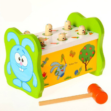 Hot 1 Set Classic Baby Game Playing Hamster Children's Colorful Wooden Toys Knock Animal Improve Kid Response Capability 2016