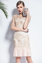 New Dress 2017 New Fanshion Street Summer Dress Elegant Dresses gre/ Beige Work / Casual Embroidery Hollow Lace Dress(China)