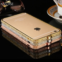 KISSCASE Shiny Rhinestone Bumper For iPhone 6 Plus Case Glitter Aluminum Case for iPhone 6 6s Metal Diamond Mobile Phone Cases(China)