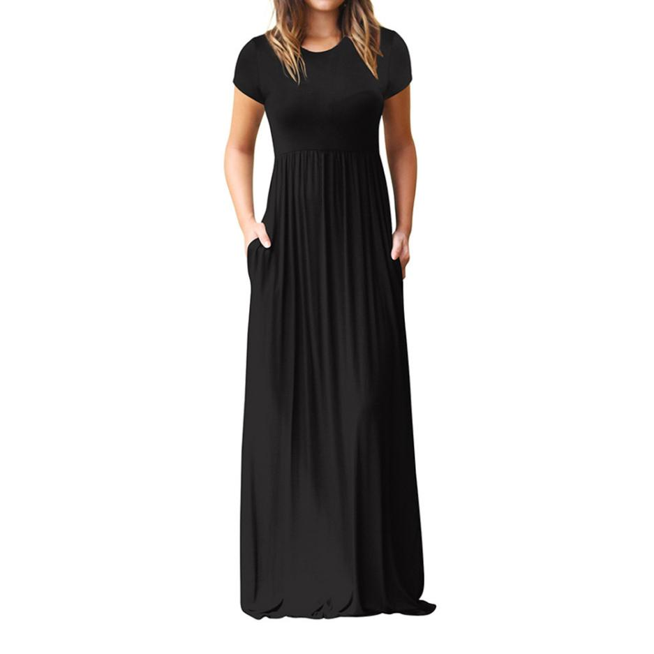 Hot Sale Floor Length Dress Women O Neck Casual Pockets Short Sleeve Loose Party Dress Vestido Longo De Festa 4