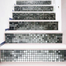 6 Pieces/Set Creative 3D Stairway Stickers Silver Mosaic Tile Pattern for Floor Stairs Decoration Home Decor Wall Picture(China)