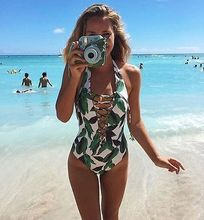 New Ladies One-Piece Swimsuit Beachwear Swimwear push up monokini bikini Bathing Bandange V-neck Halter Floral Bathing Suit(China)