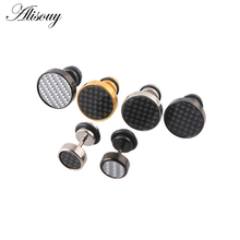 8mm Mens Black/Silver/Gold Stud Earrings Stainless Steel Illusion Tunnel Plug with Carbon Fiber Whole Jewerly aretes de mujer(China)