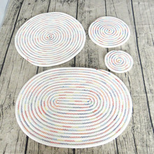 2pcs Pack Handmade Table Accessories Heat-insulation Cotton Braid Round Shape Placemats