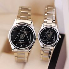 Brand Women Man Couple Business casual watches Official Authentic Sports Full Stainless steel classic second hand black Watches(China)