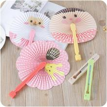 2017 New Cartoon cute Lace Round Plastic Paper Fan Ladies Girls Summer Folding Fan Chinese Hand Fans in wedding party favors  40