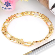 Personality High Quality Plated Gold Color Link Hand Chain Gold Bracelet & Bangle Male Accessory Men Party Jewelry Wholesale