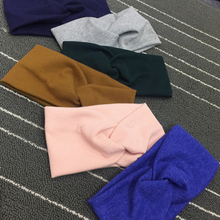 1pc Women Winter Autumn Warm Turban Solid Wool Knit Headbands Girls Makeup Cotton Fabric Elastic Hair Band Twisted Knot Headwrap(China)