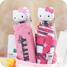 2 Color.Kawaii Kitty Cat Sun&Rain Foldable Umbrella.Cartoon Folding Collapsible Umbrella for Women Children Kids Gift(China)