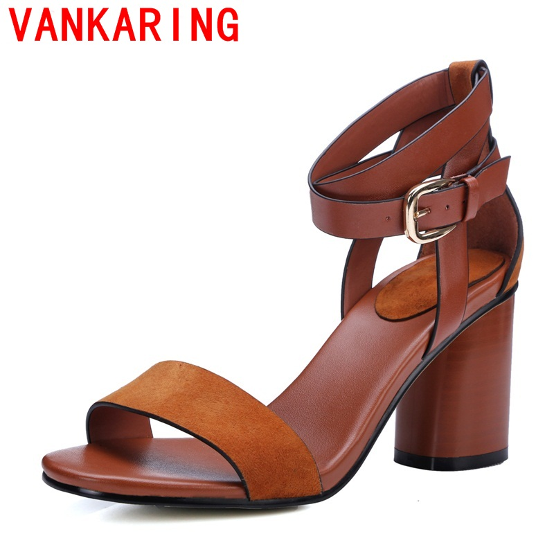 VANKARING shoes 2017 women fashion sandals new arrival woman shoes summer thick heel open toe hoot high heels high quality shoes<br><br>Aliexpress