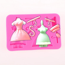 Princess skirt handmade chocolate jelly pudding diy turn sugar cake silicone mold cake dessert decoration pastry bakery tools