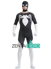 Free Shipping DHL Printing Black&White Spandex Spiderman Unique Zentai Cosplay Costume Hood Detachable For Halloween Events