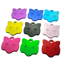 20Pcs Customized Engraved Dog Cat ID Tag Personalized Cat Face Shape Print Pet Name Plate Puppy Dogs Name Phone No. Tags(China)