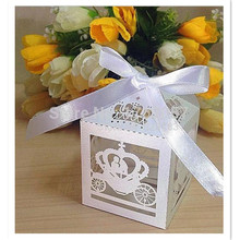 Laser Cut Cinderella Enchanted Carriage Marriage Box,50pcs pumpkin carriage Wedding Favor Boxes Gift box Candy box