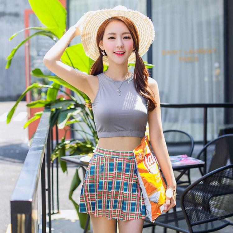 2017 new Korean skirt bikinis female steel support small chest gather Bikini Swimsuit<br><br>Aliexpress