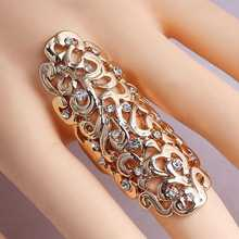 Fashion Women Jewelry Totem Pattern Rings 2 Colors Selection Gothic Punk Joint Armor Knuckle Long Double Full Finger Ring