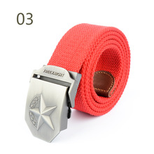 Men's Army Tactical Thickening Casual Three-dimensional Red Five-star Decoration Fashion Canvas Belt 27 Colors 100cm-135cm Long