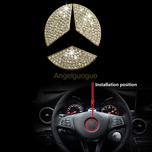 Angelguoguo Car steering wheel emblem 3D sticker for Mercedes Benz 2015-2016 C Class W205/ GLC/ E W213 (3 colors options)(China)