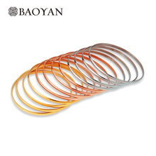 Baoyan 316L Stainles Steel Gold Silver Rose Gold Triple Color 12pcs Bangle Set Wholesale Fashion Christmas Bangle Jewelry Gift(China)