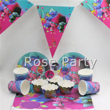 Luxury Trolls Birthday Party Set Tableware Paper Cups Plates Decoration Party Flags Tablecloth Event Party Supplies for 12 Kids