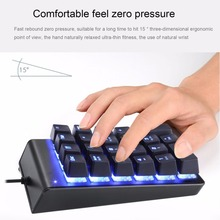 Gaming Keypad Mini Portable Numpad Mechanical Numeric Keypad 22 keys Wired LED Blue Backlight for Win7/8/10/Android/Linux(China)