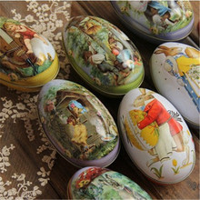 Large Size Easter Eggs Iron Candy Storage Box Easter Decoration Wedding Favor Tin Box Cable Organizer Container Household